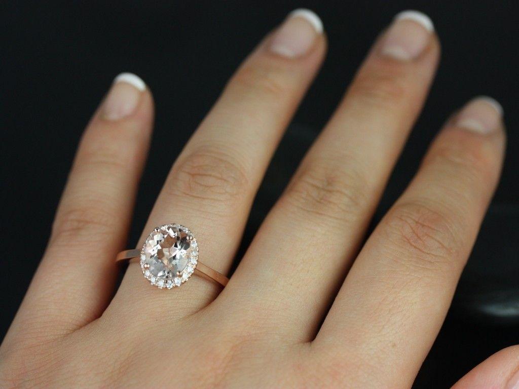 morganite wedding ring set Rosados Box Charlotte Rose Gold Oval Morganite and Diamond Halo Engagement Ring