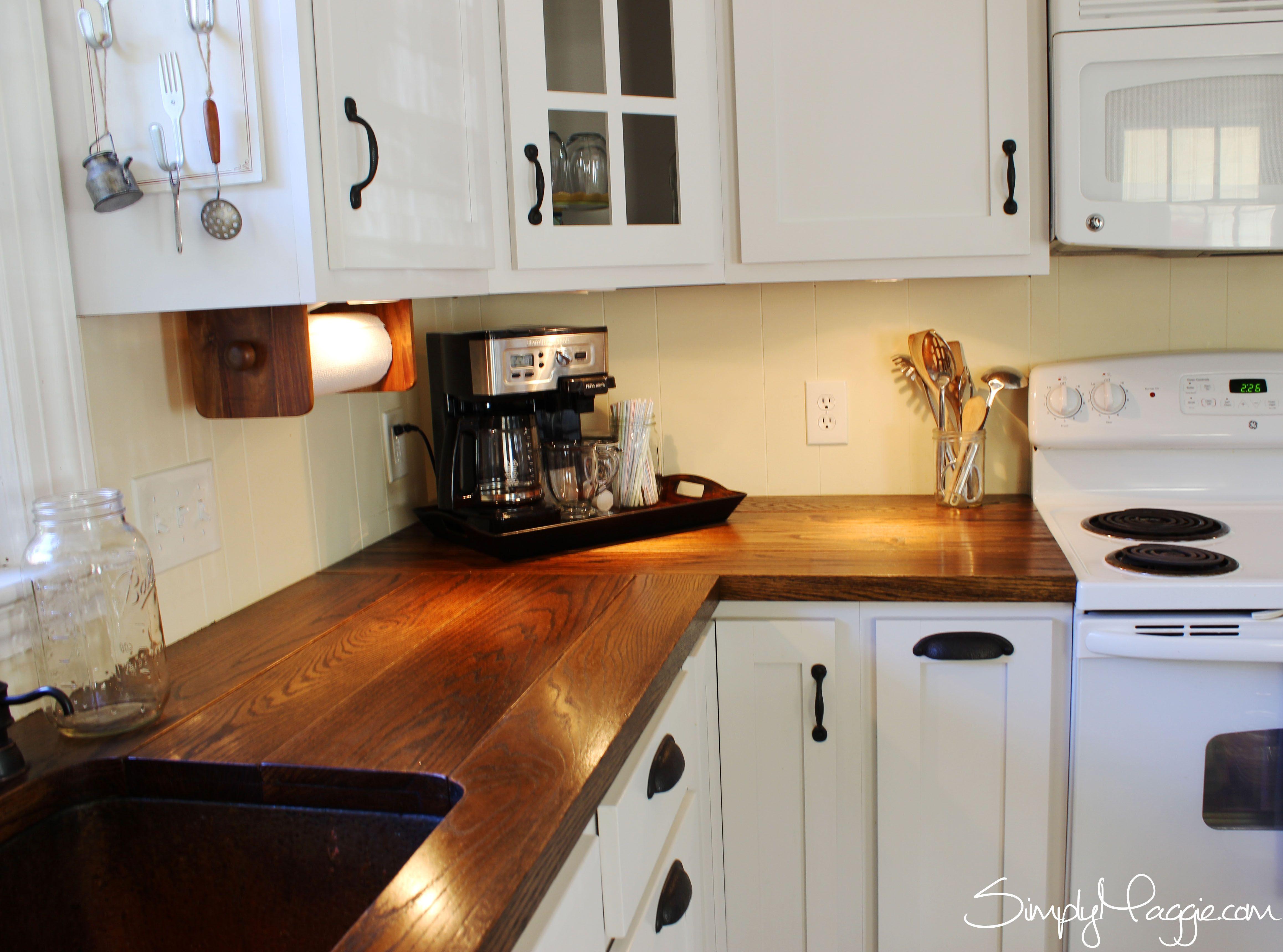 butcher block kitchen countertops Under Cabinet Lighting DIY Wide Plank Butcher Block Countertops www SimplyMaggie com I