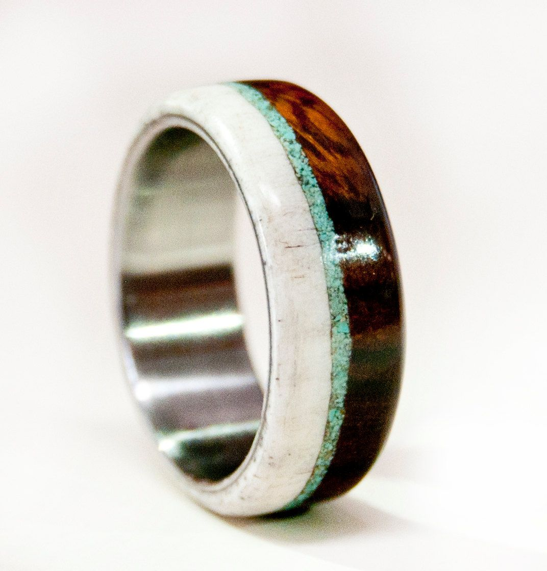 wood wedding bands Mens Wedding Band Wood and Antler with Titanium by StagHeadDesigns 00