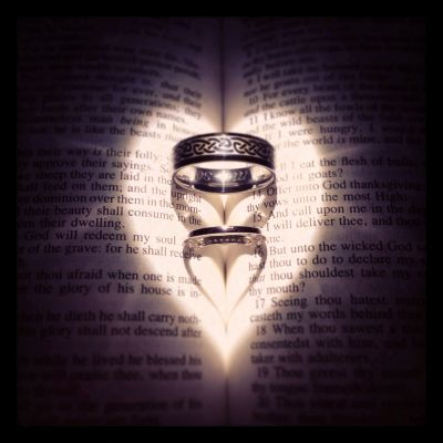Wedding rings in bible! I used a flashlight for the light ...
