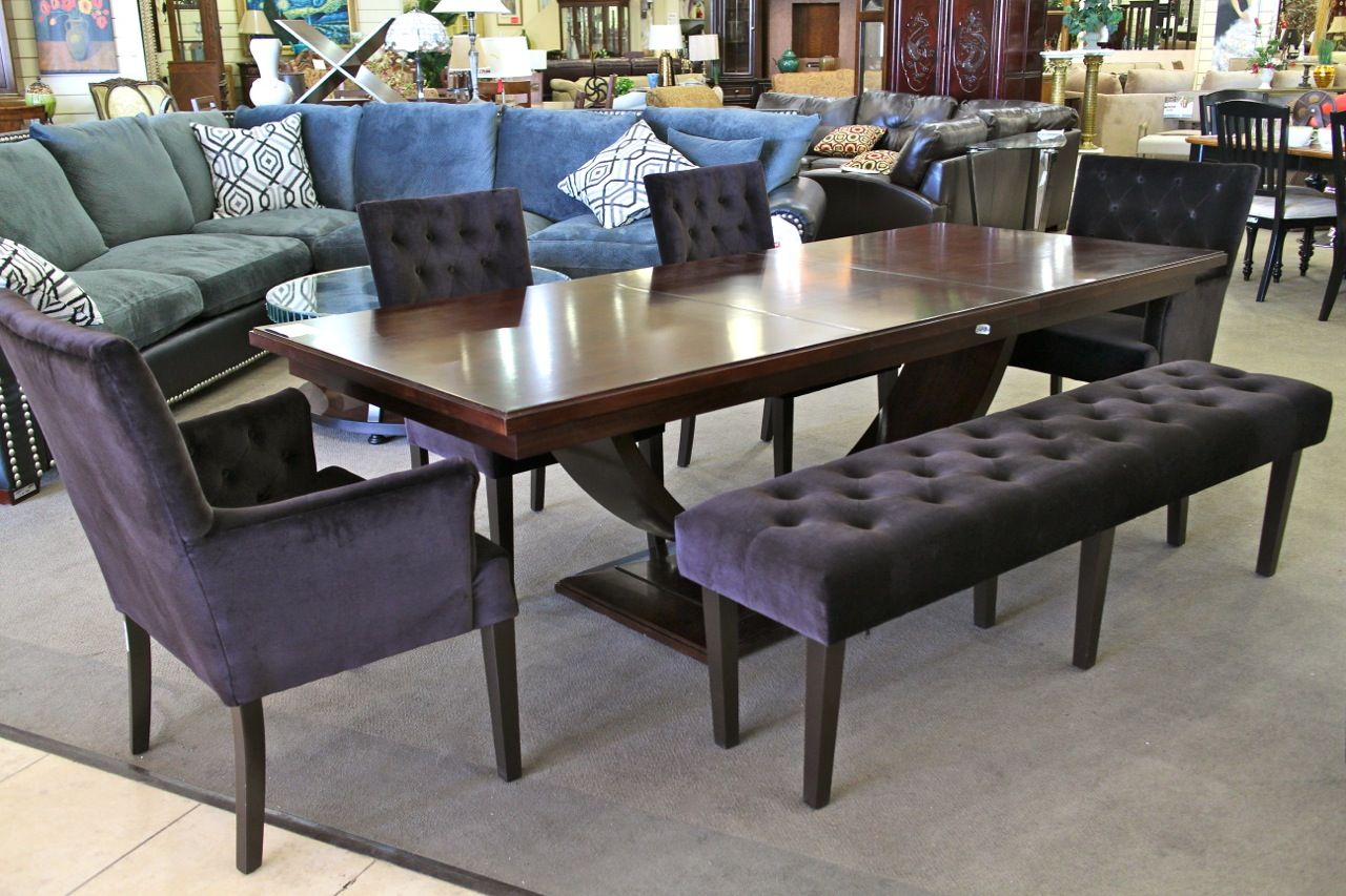 kitchen table las vegas Darkwood Dining Table w 4 Black Velvet Tufted Chairs and Bench Colleen s Classic Consignment
