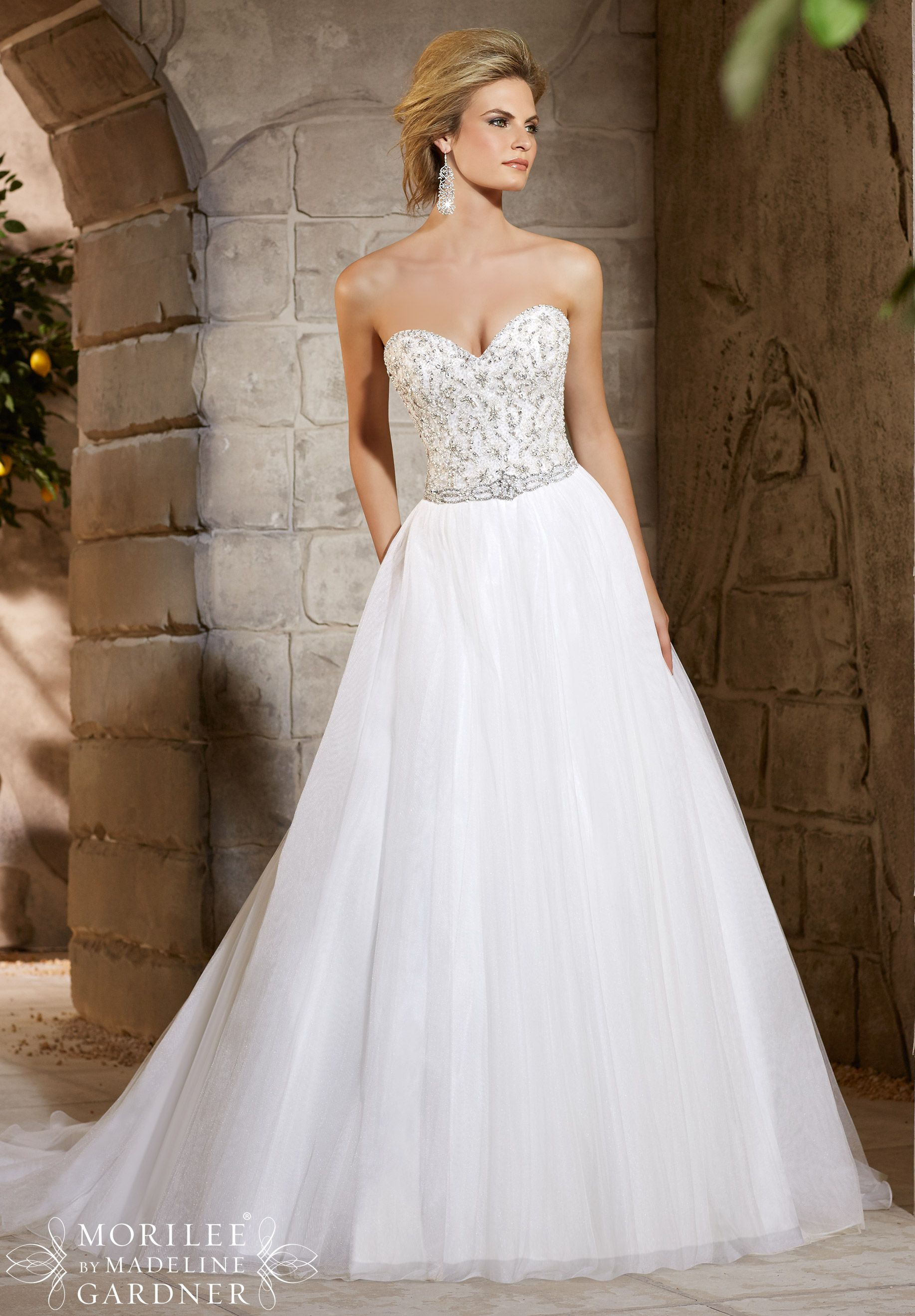 beaded wedding dress Wedding Dresses Diamante and Crystal Beading Decorates the Alencon Lace Bodice Onto the Soft Net