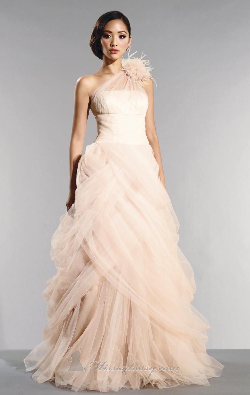 blush colored wedding dress Pink wedding dresses