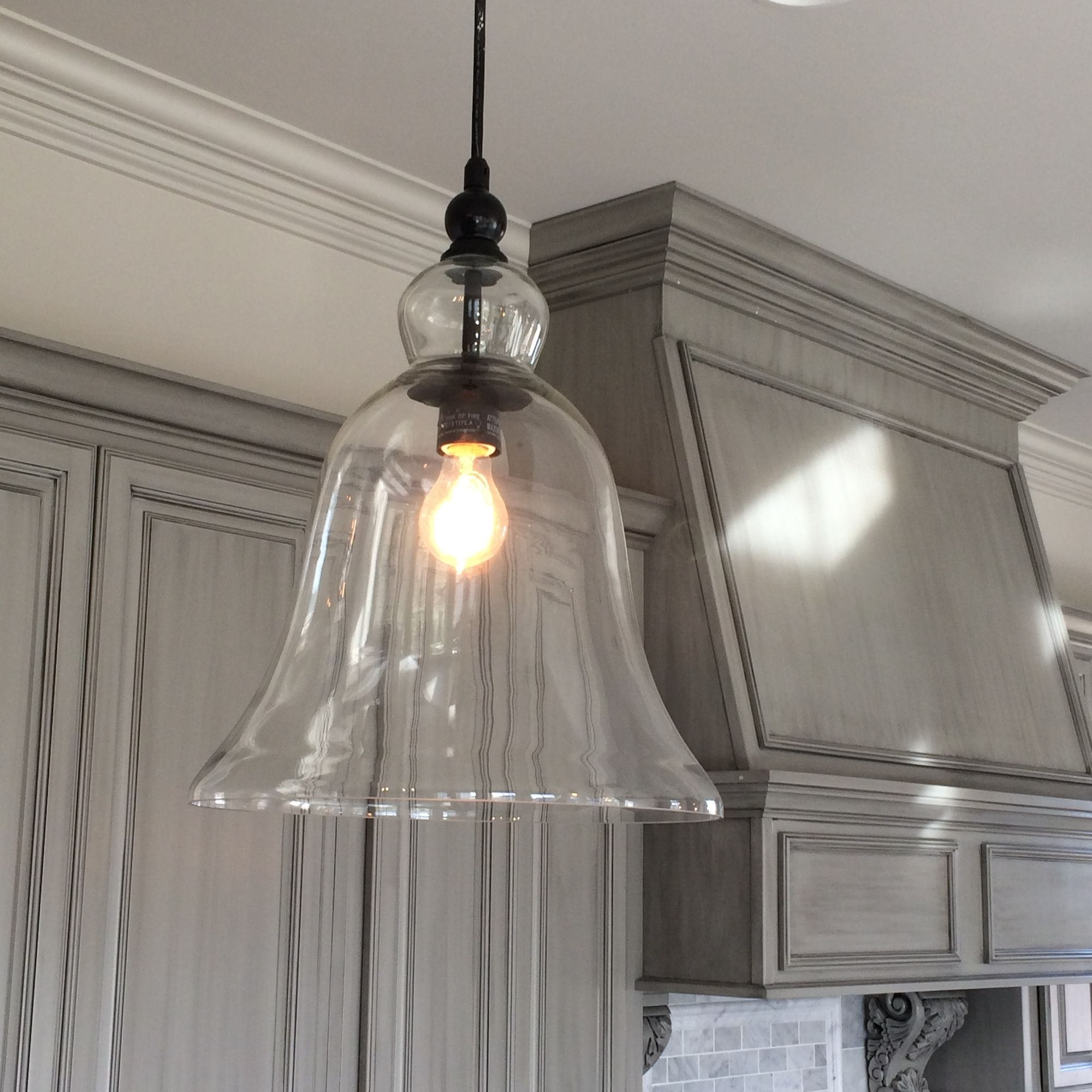 pendant lighting kitchen Kitchen Large Glass Bell Hanging Pendant Light