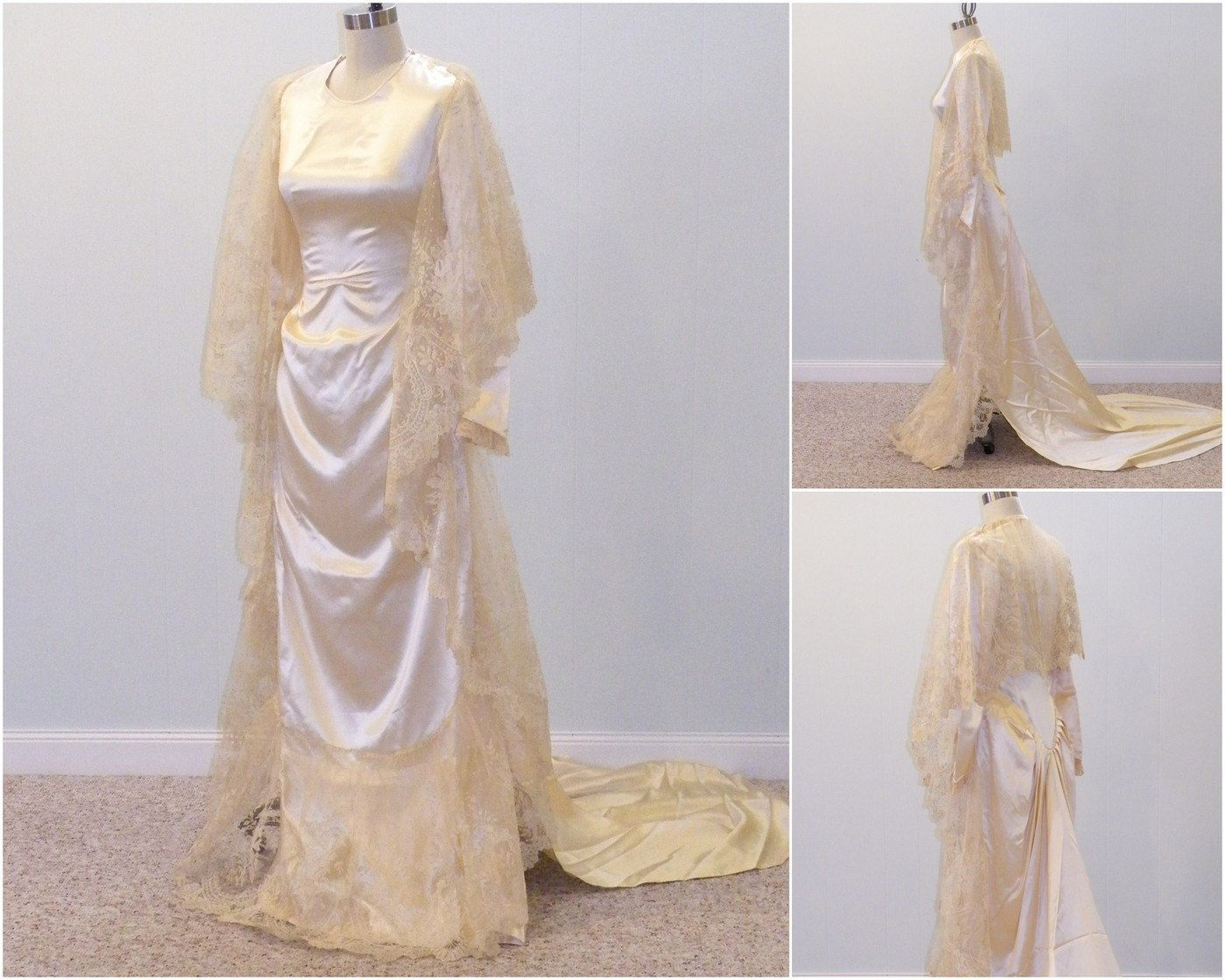 wedding dress s Silk Brussels Lace Wedding Dress 30s Ivory Wedding Gown s Antique Georgian Brussels Lace
