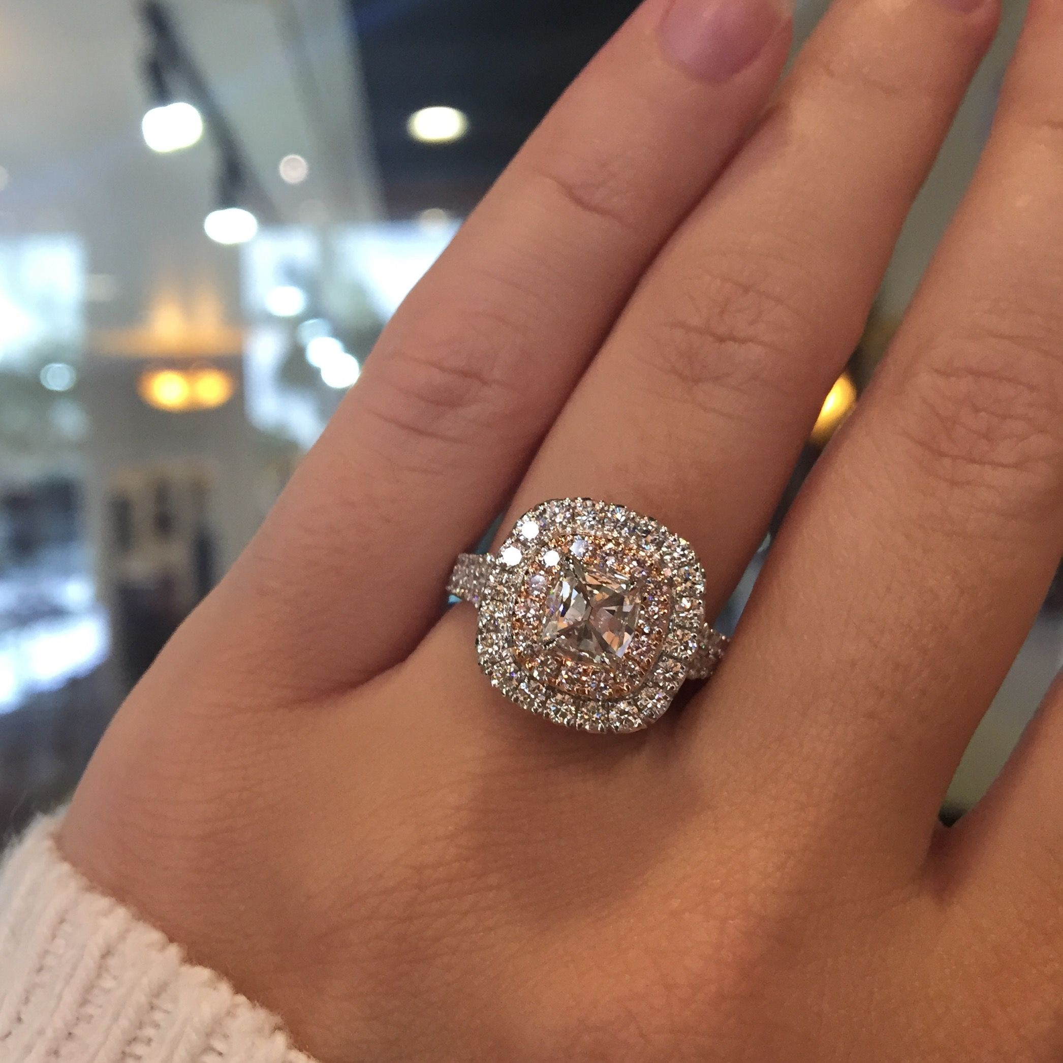 pink diamond wedding rings Henri Daussi AQSP 0 55ct Diamond Engagement Ring