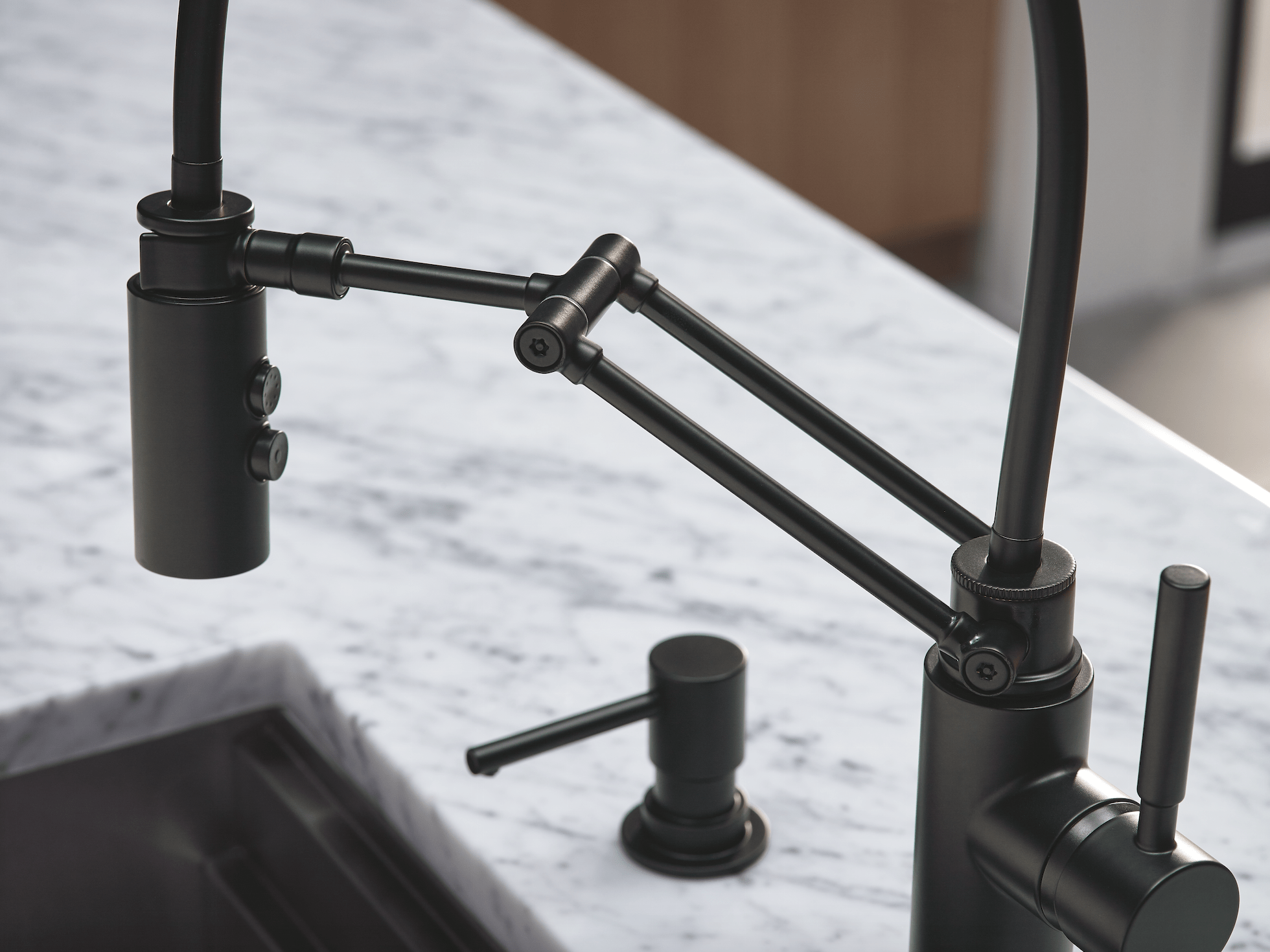kitchen spaces black kitchen faucet The Solna Articulating Kitchen Faucet by Brizo in matte black was the hero in this modern kitchen space designed by