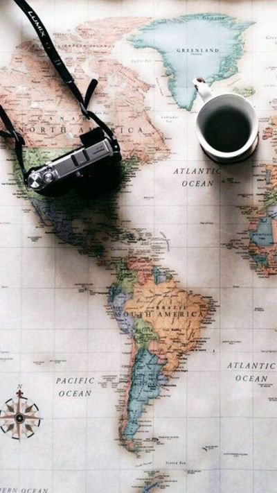 World Map Travel Plans Camera Coffee iPhone 6 Wallpaper | iPhone Wallpapers | Pinterest ...
