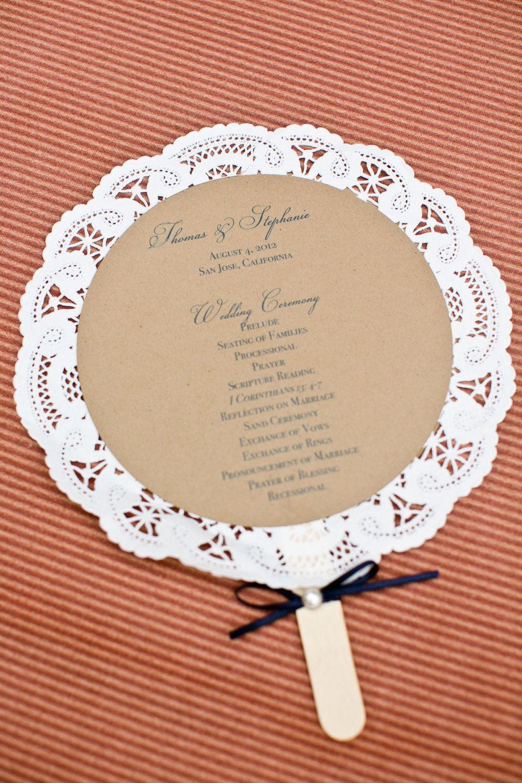 wedding fans Doily wedding program fans 3 00 via Etsy Could be menu s or poems etc