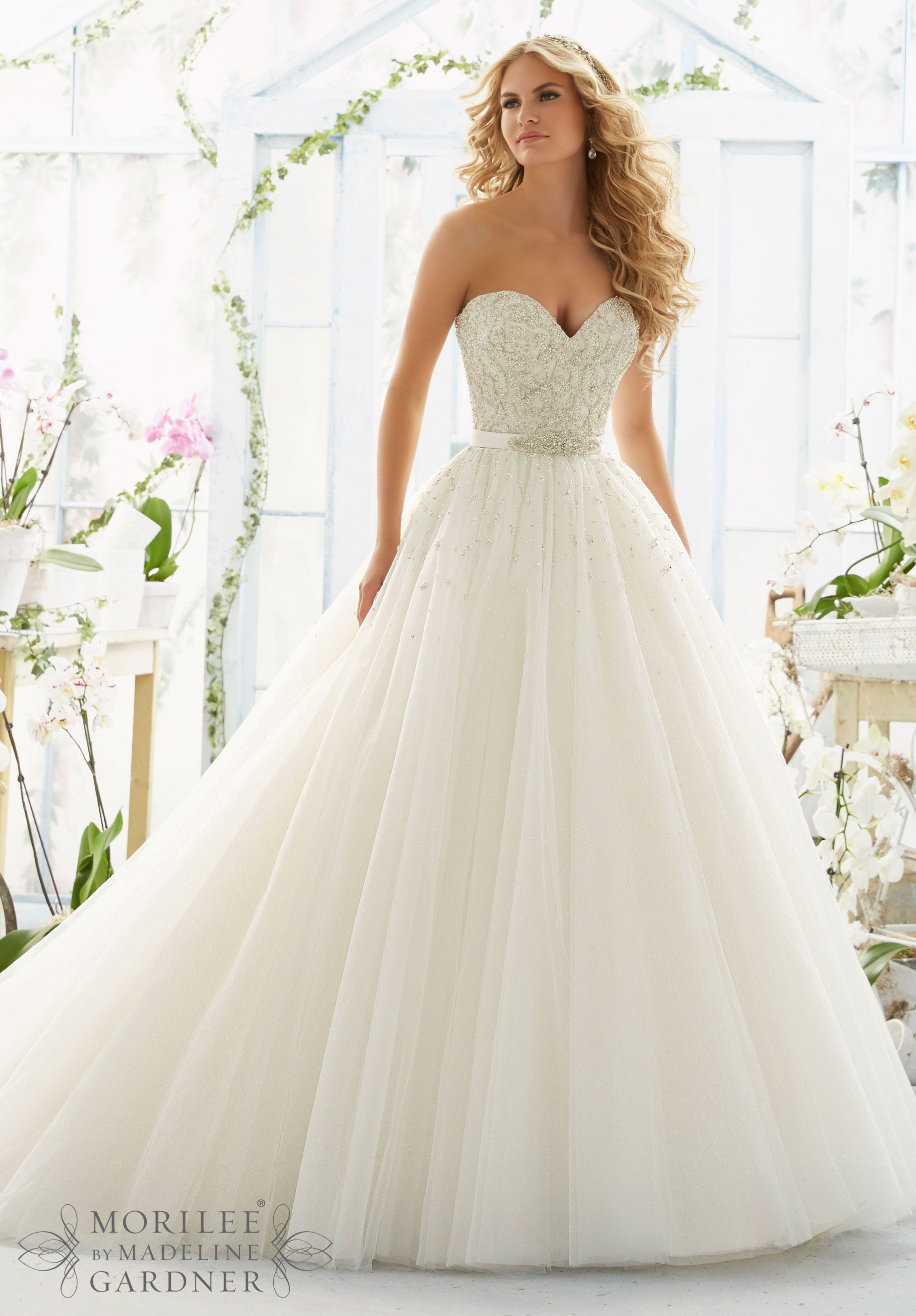 ball gown wedding dress Mori lee Wedding Dresses and Wedding Gowns by Morilee featuring Pearl and Diamante Beading on Laser Cut Embroidery onto a Tulle Ball Gown Removable