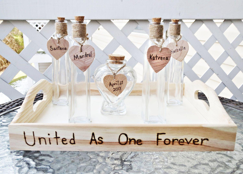 wedding sand ceremony Custom Heart Shaped Vase Wedding Unity Sand Ceremony Set of 5 Glass Vases With Personalized