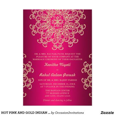 HOT PINK AND GOLD INDIAN STYLE WEDDING INVITATION | Party ...