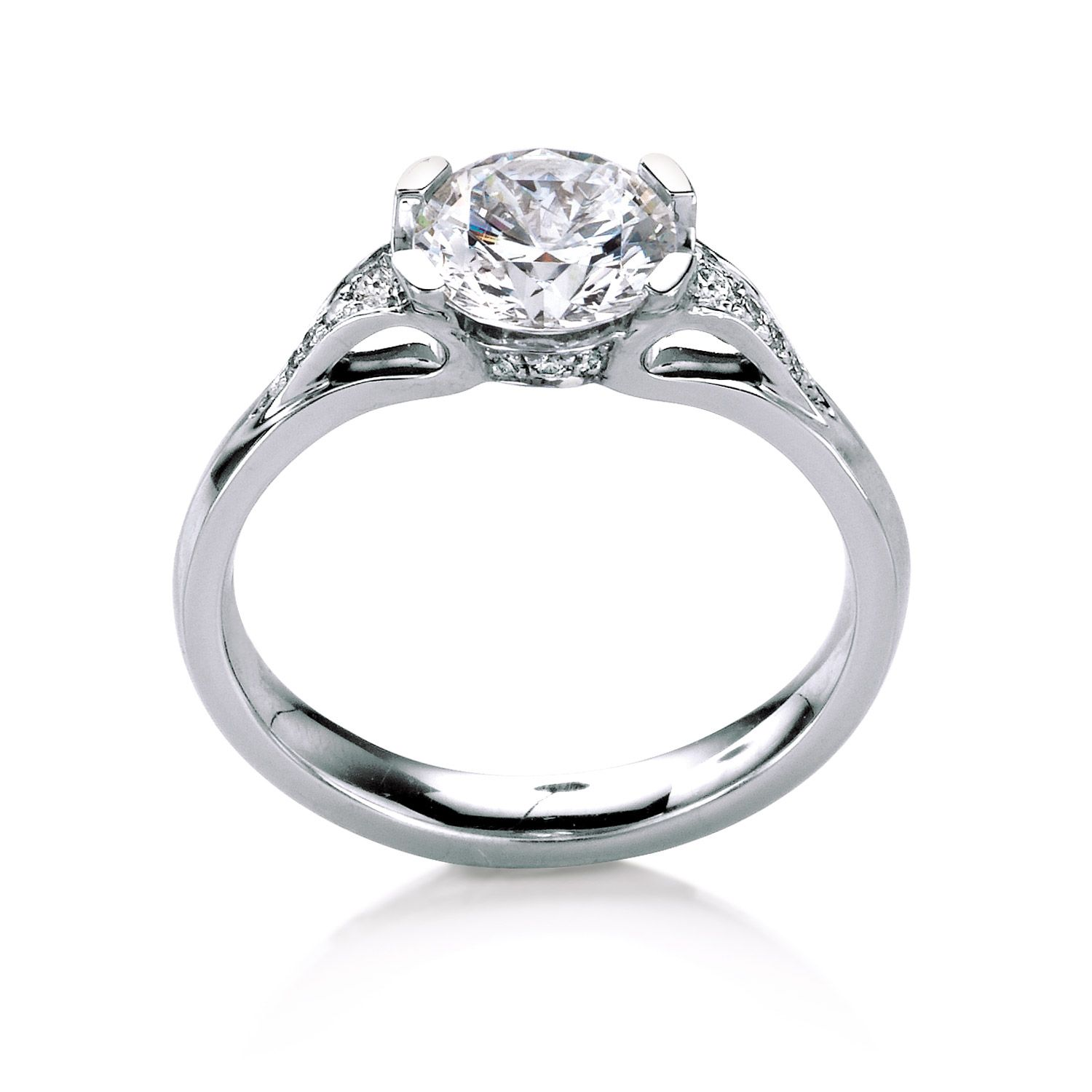 low profile wedding ring Eorsa Pav engagement ring by MaeVona Round brilliant cut solitaire Graceful low