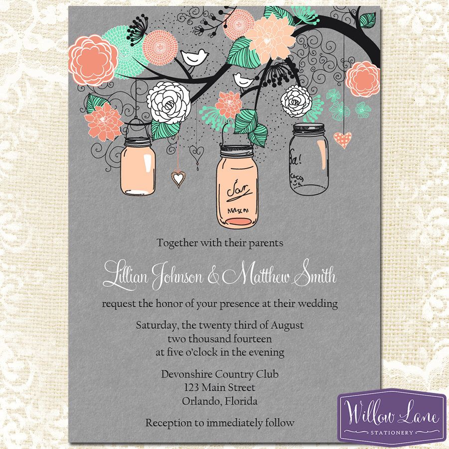 mason jar wedding invitations Mason Jar Wedding Invitation Gray Coral Mint Green Wedding Invite Bridal Shower Invitation PRINTABLE