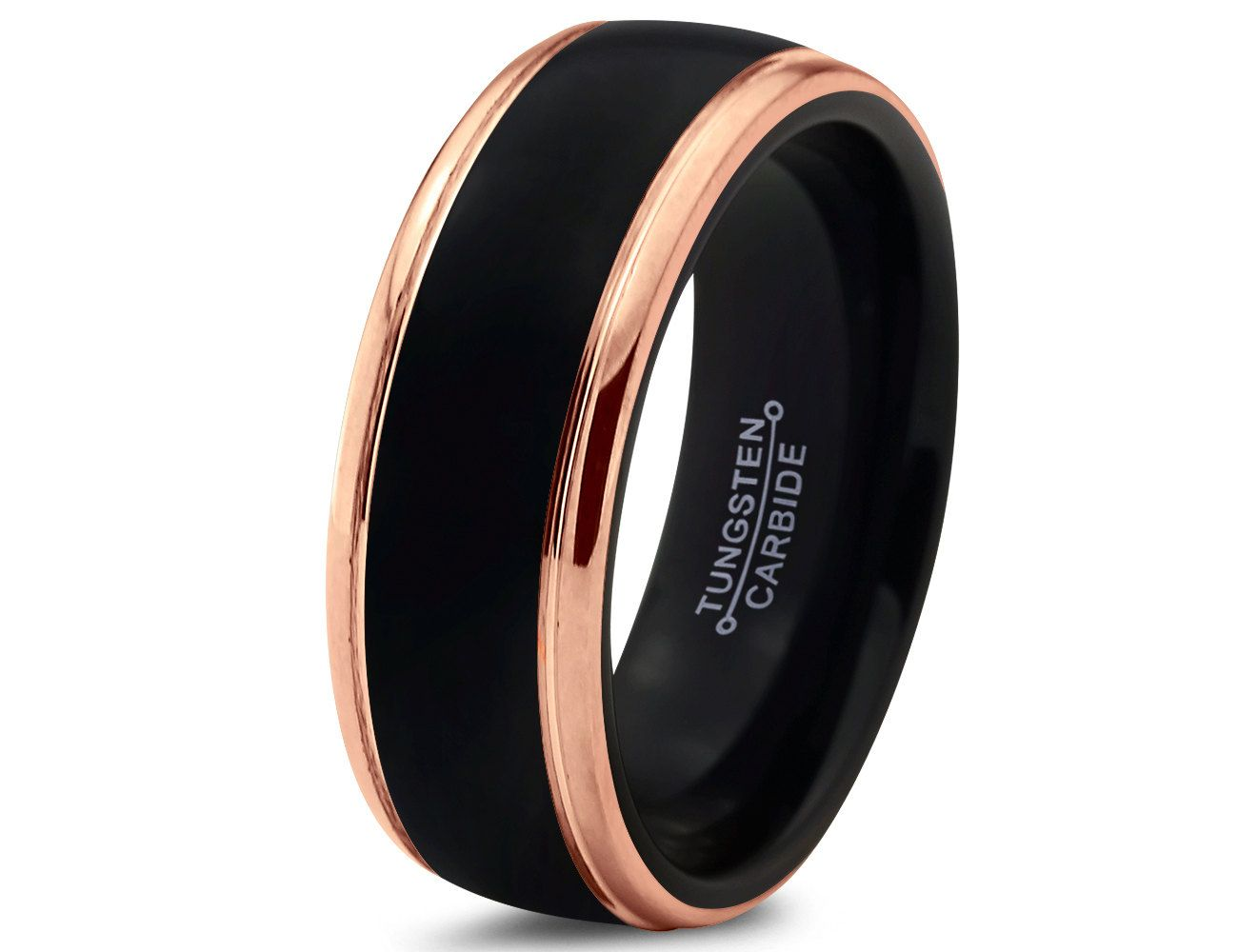 tungsten carbide wedding bands Black Tungsten Ring Rose Gold Wedding Band Ring Tungsten Carbide 8mm 18K Tungsten Ring Man Wedding