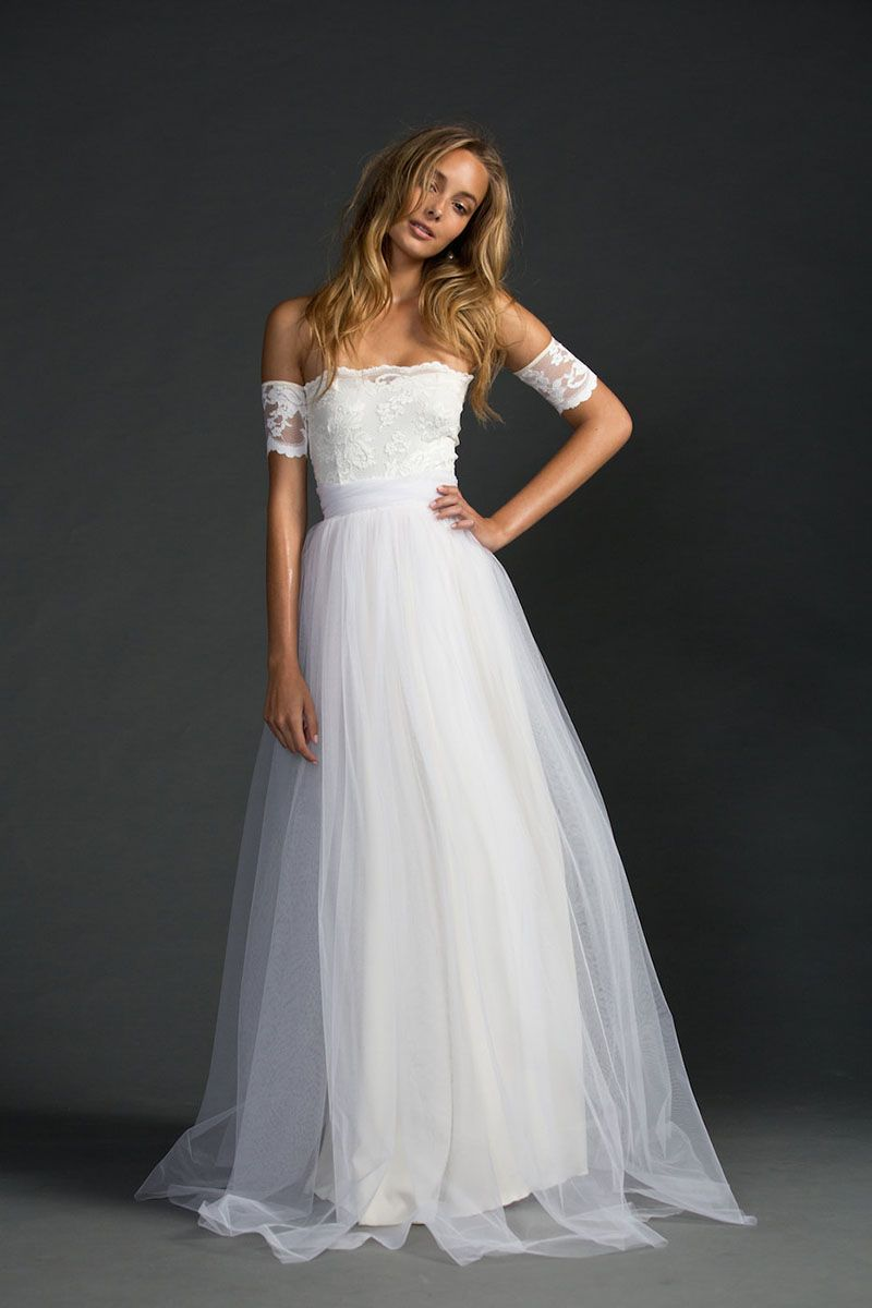 ivory wedding dress Ivory Strapless A Line Lace And Tulle Floor Length Simple Wedding Dress Fashideas com
