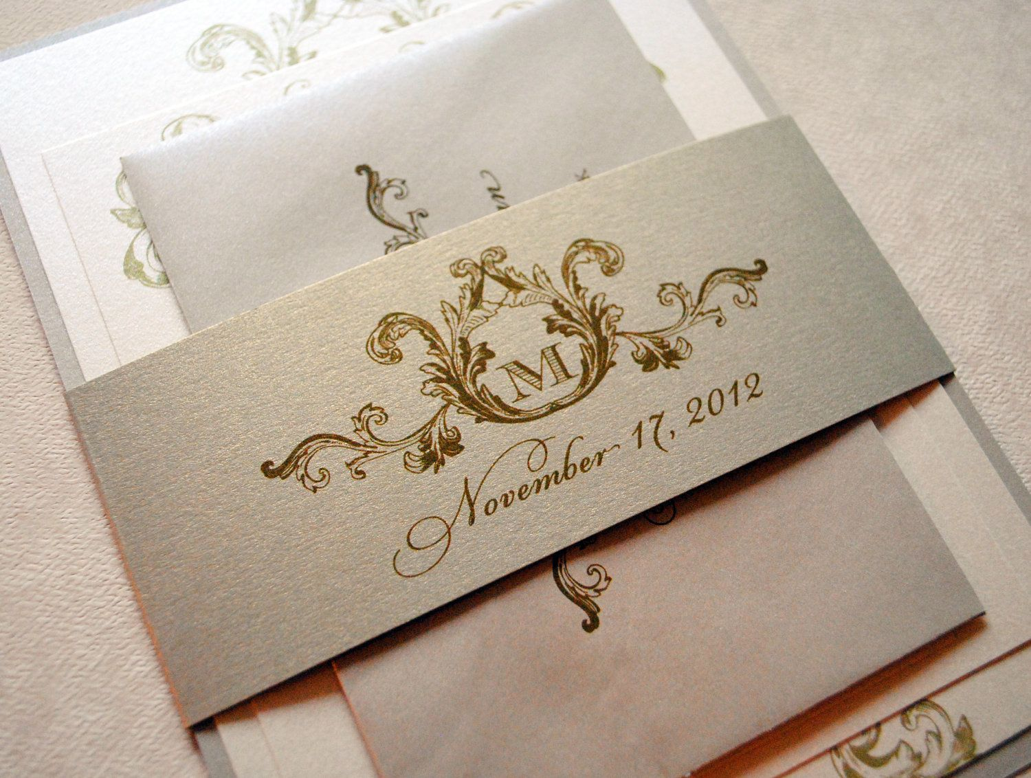 rose gold wedding invitations Ivory Champagne and Gold Wedding Invitations Elegant Wedding Invitations Champagne Gold
