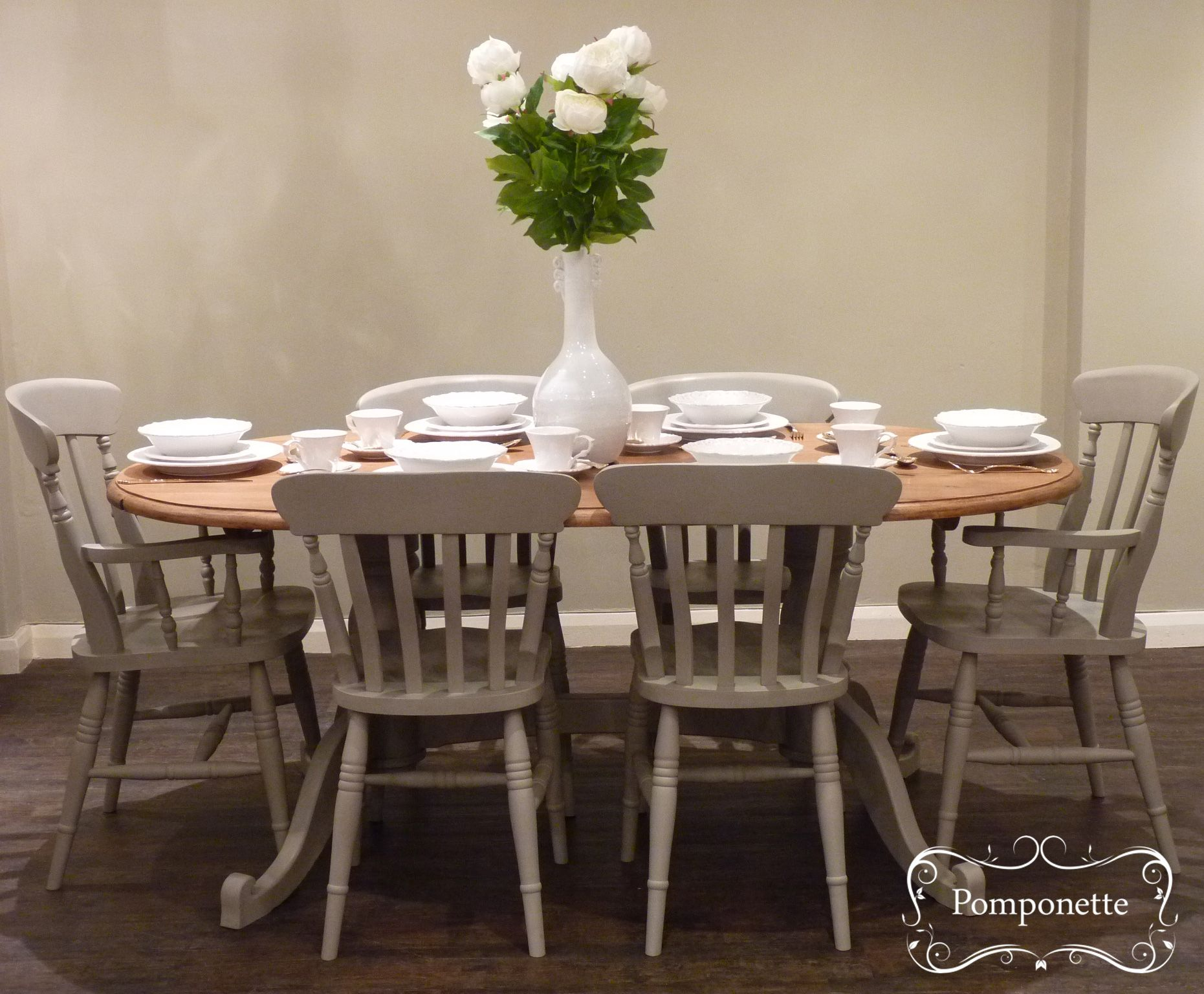 two seat kitchen table Oval Dining Table Six Chairs We have created a mellow mushroom shade by mixing