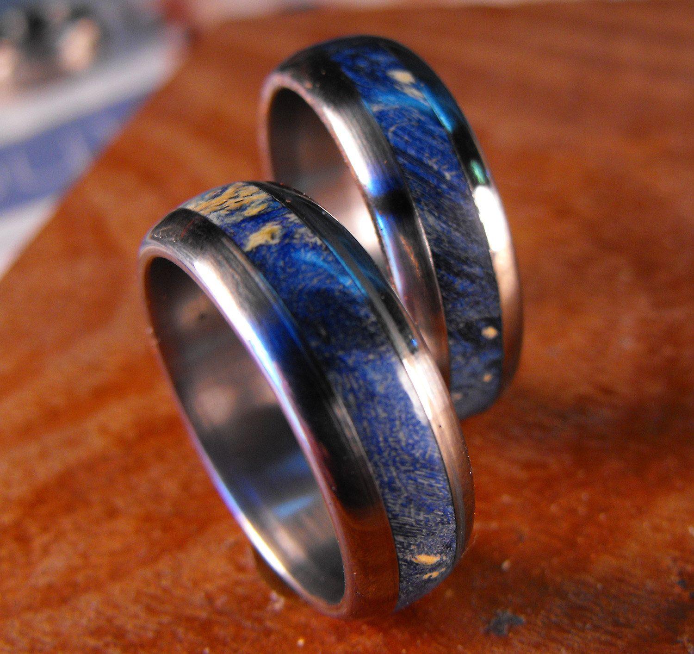 etsy wedding bands Titanium Rings Wedding Rings Wedding Ring Set His and Hers Rings Wood Rings Blue Rings Mens Ring Womens Ring Mens Wedding Ring