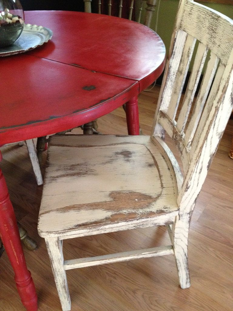 red kitchen chairs Distressed Round Country Kitchen Table The chair is a little TOO distressed for me but