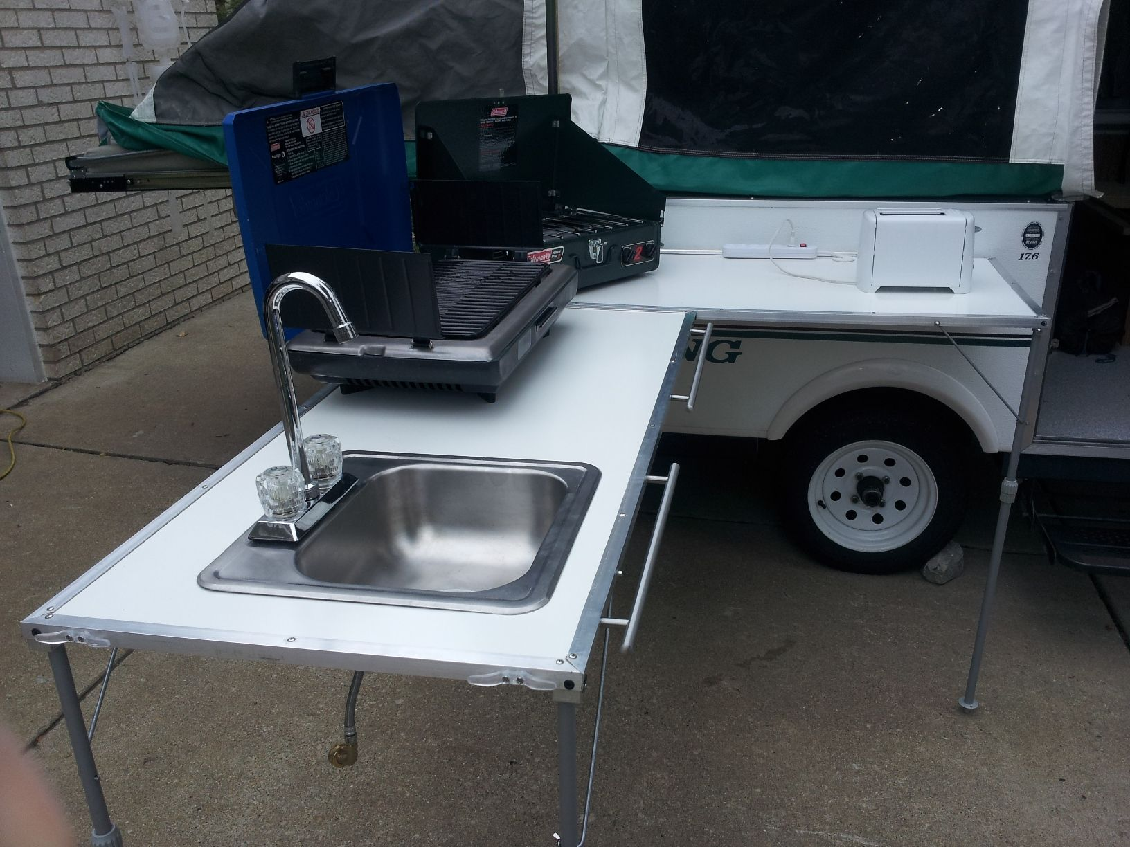 outdoor kitchen sink DIY Outdoor Galley much smaller and lighter than the Cabela s Camp Kitchen