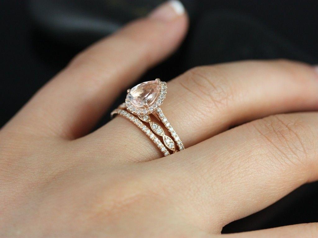 halo wedding set morganite wedding ring set Rosados Box Tabitha and Christie Trio Rose Gold Pear Morganite and Diamond Halo Wedding Set