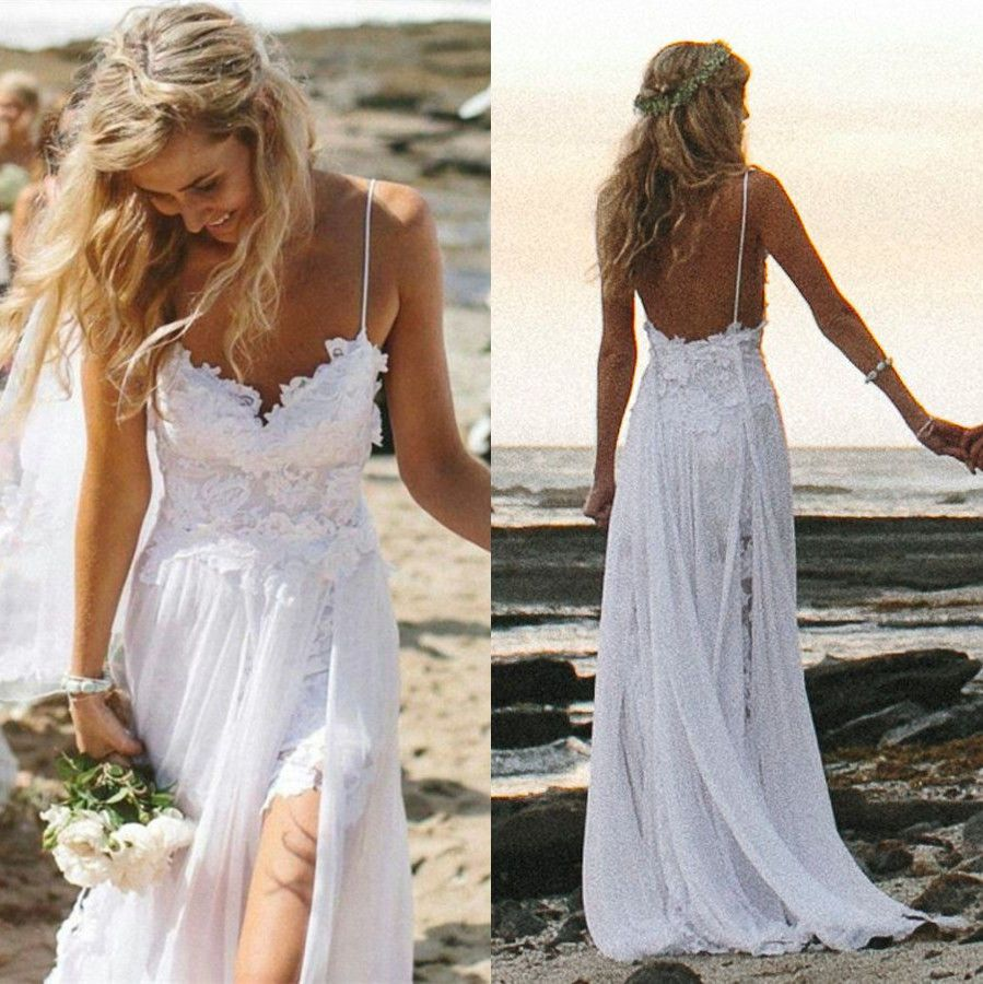 beachy wedding dresses Sexy Fancy Beach Wedding Dresses Spaghetti Backless White Ivory Lace Bridal Gown
