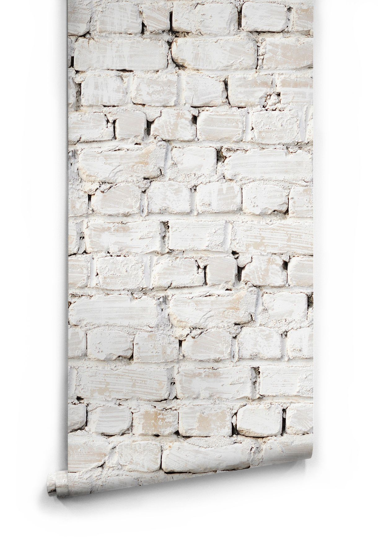 kitchen wallpaper designs Sample of Whitewash Bricks Boutique Faux Wallpaper design by Milton King