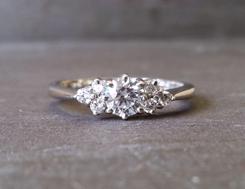 elegant wedding rings Skinny Thin Trilogy Diamond Engagement Ring Knife Edge Diamond Ring Classic Elegant Engagement Ring
