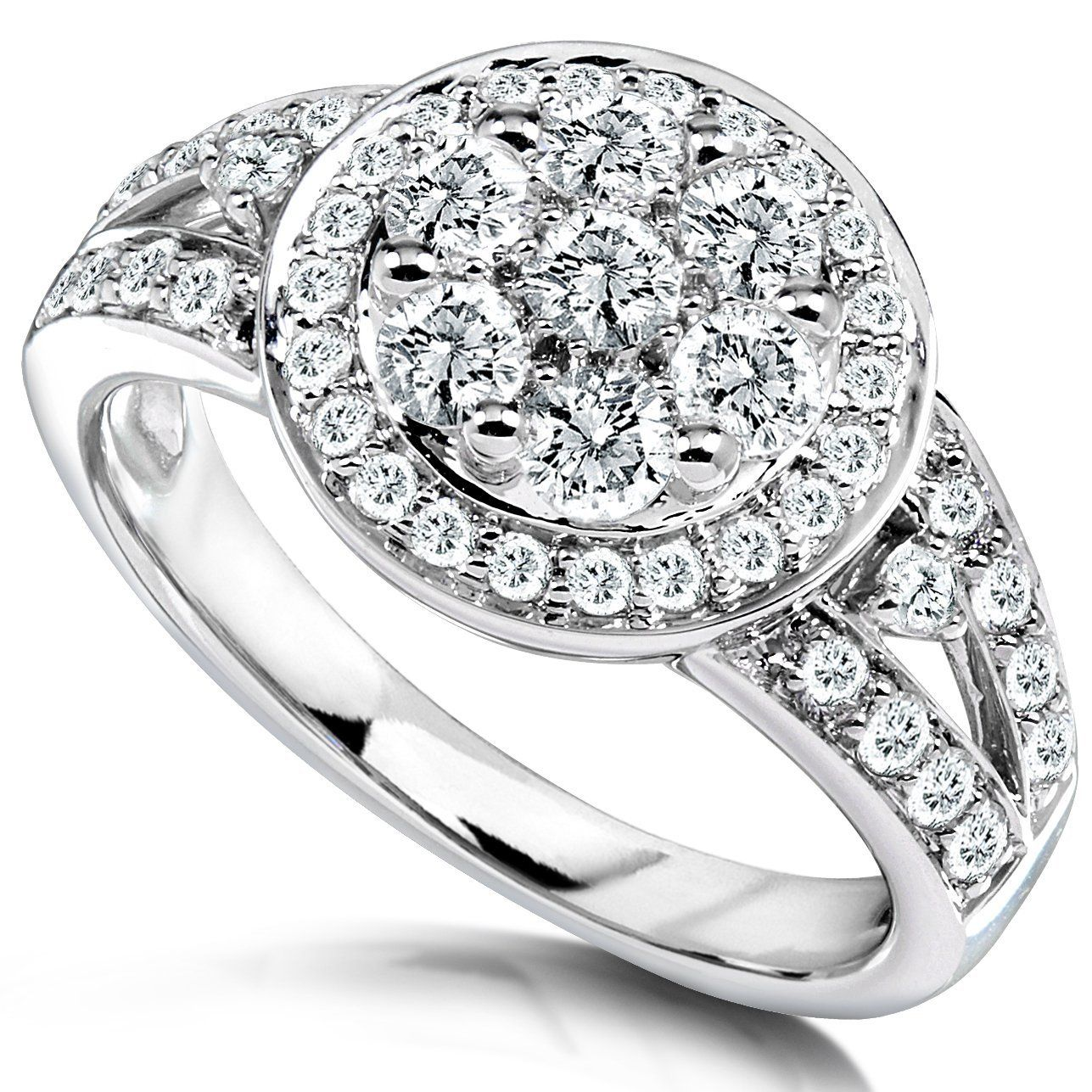 wedding ring diamond 14k White Gold Diamond Cluster Engagement Ring Here s a unique but magnificently studded Diamond Cluster