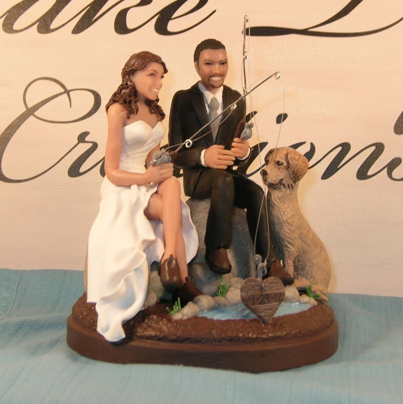 wedding cake toppers funny Funny romantic fishing wedding cake toppers