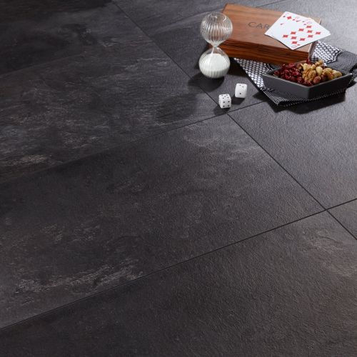 kitchen laminate flooring Harmonia Black Slate Effect Laminate Flooring 2 05 m Pack