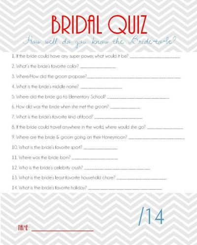 Bridal Shower Game Bridal Quiz by aRodgersDesigns on Etsy ...