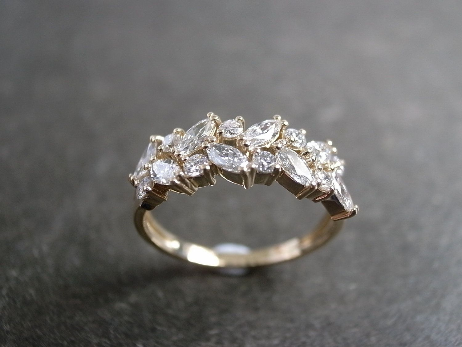 etsy wedding bands Final Marquise Diamond Wedding Ring in 14K Yellow Gold
