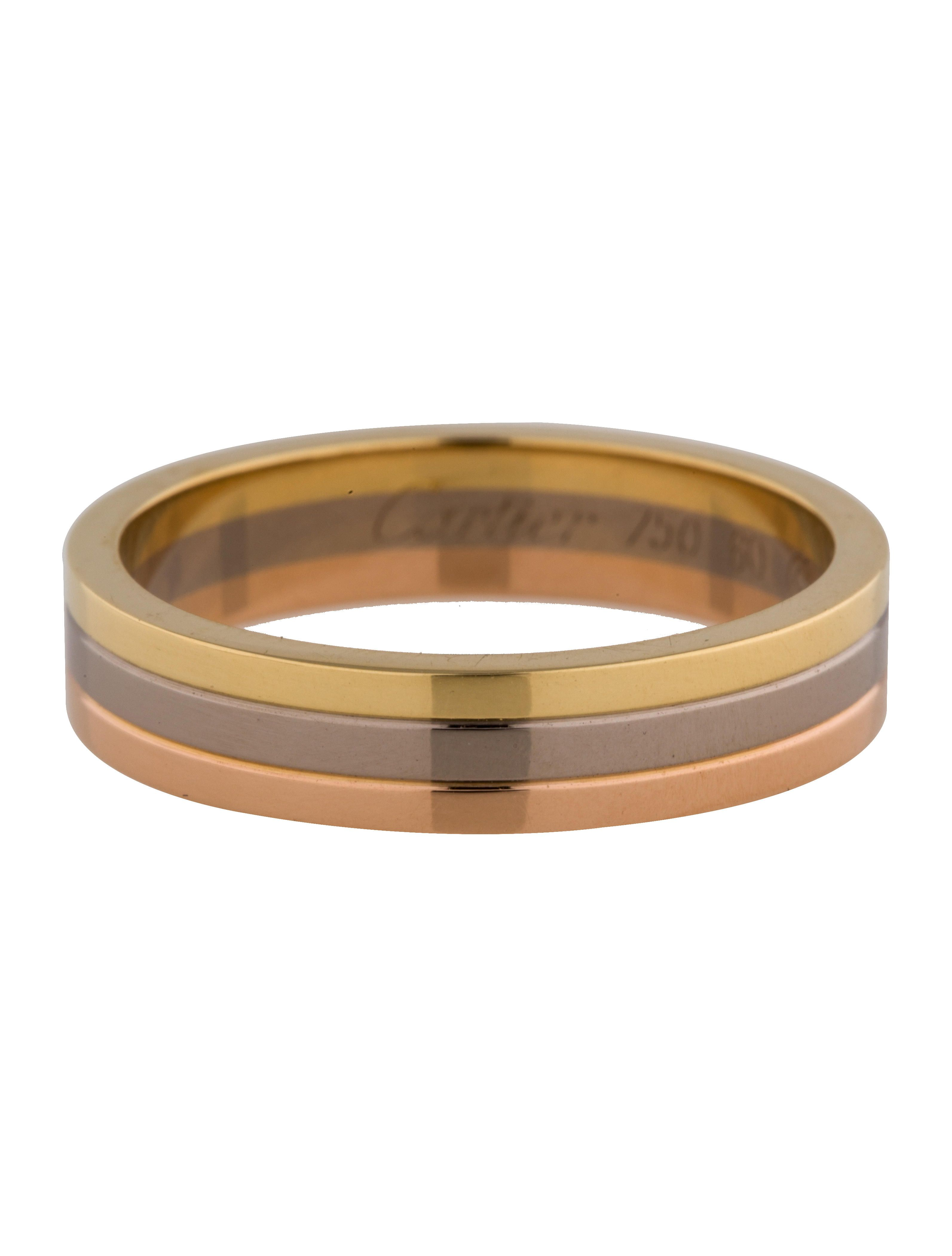 cartier mens wedding band Men s 18K yellow white and rose gold Cartier Trinity Wedding band Includes box and