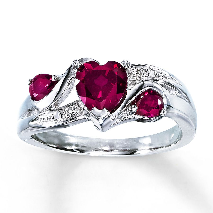 kay jewelers wedding ring Lab Created Ruby Ring Heart Cut with Diamonds Sterling Silver Kay Jewelers