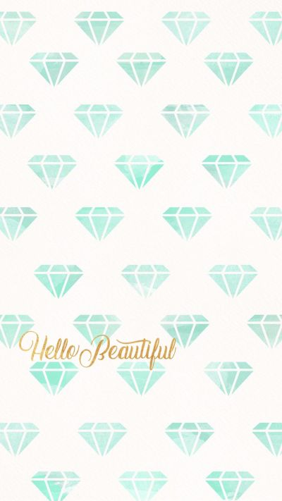 Hello beautiful, wallpaper, background, iPhone, phone, diamond, diamonds, teal, gold | Phone ...