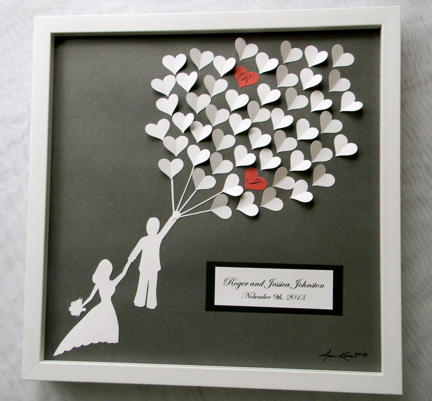 wedding gifts for guests Wedding guest book alternative 3D paper hearts lovely bridal shower gift modern guestbook for the bride and groom great gift