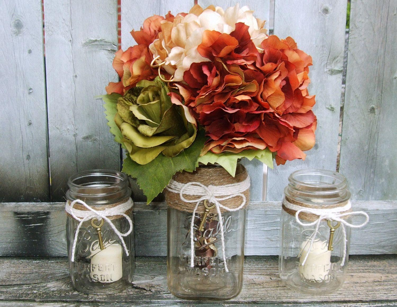 centerpieces for wedding Rustic Wedding Decor Mason Jar Wedding Centerpiece Wedding Candle Holder Wedding Lighting Skeleton Key wedding Decoration Jute