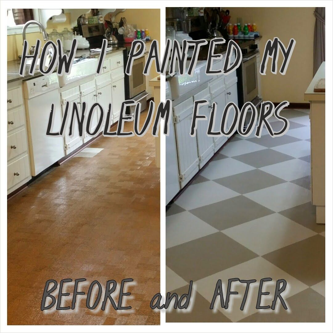 kitchen floor lino The Virtuous Wife How I Painted my Linoleum Floors