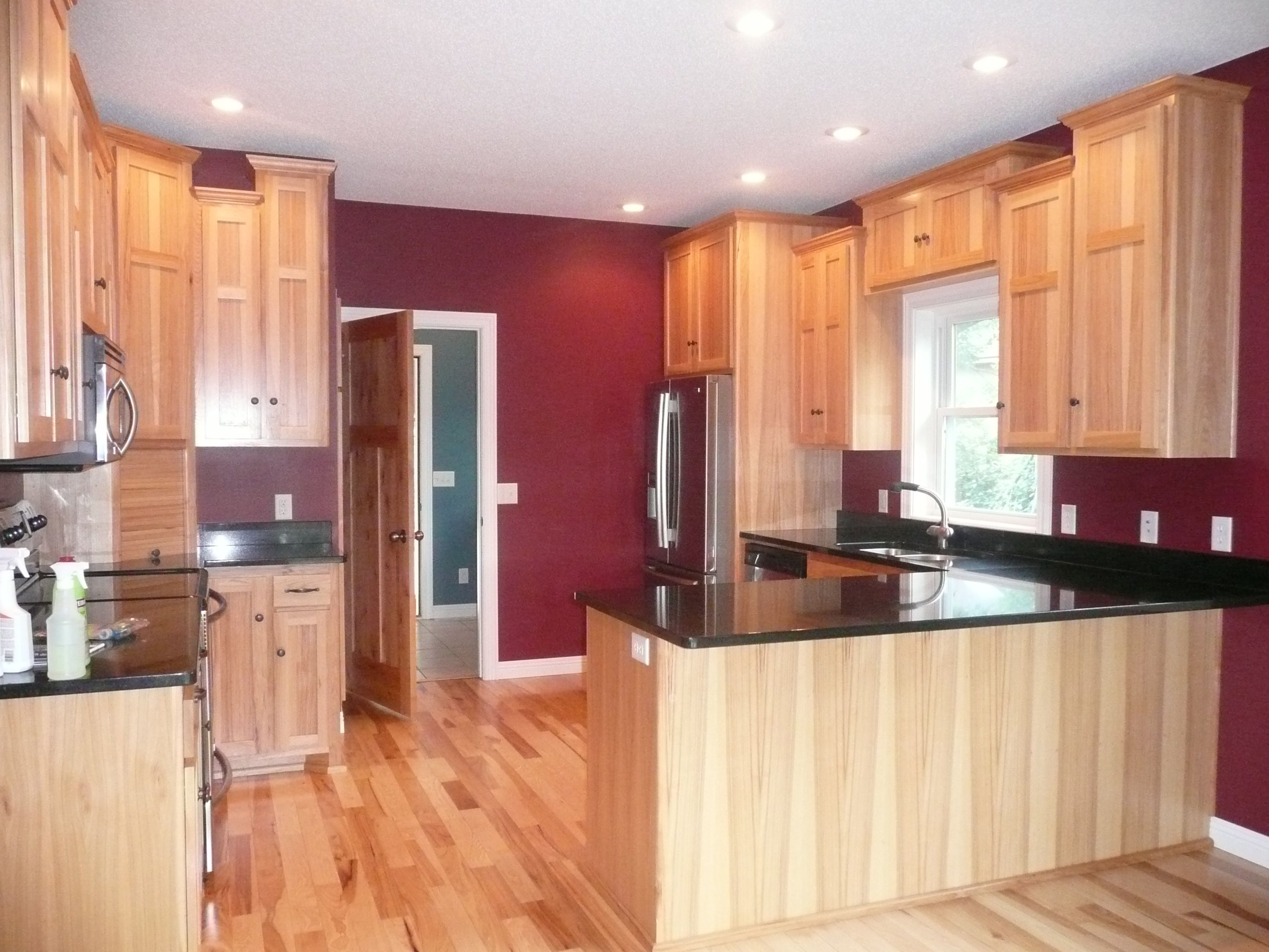 kitchen hickory kitchen cabinets Kitchen Hickory cabinets and floor Granite Countertop