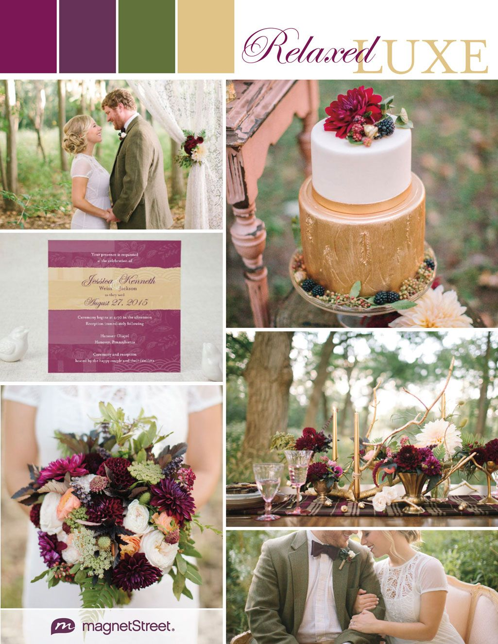 purple and gold wedding Regal and Rustic Wedding Ideas