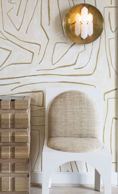KELLY WEARSTLER | GRAFFITO WALLPAPER. In Ivory/Gold | Wall Coverings | Pinterest | Kelly ...