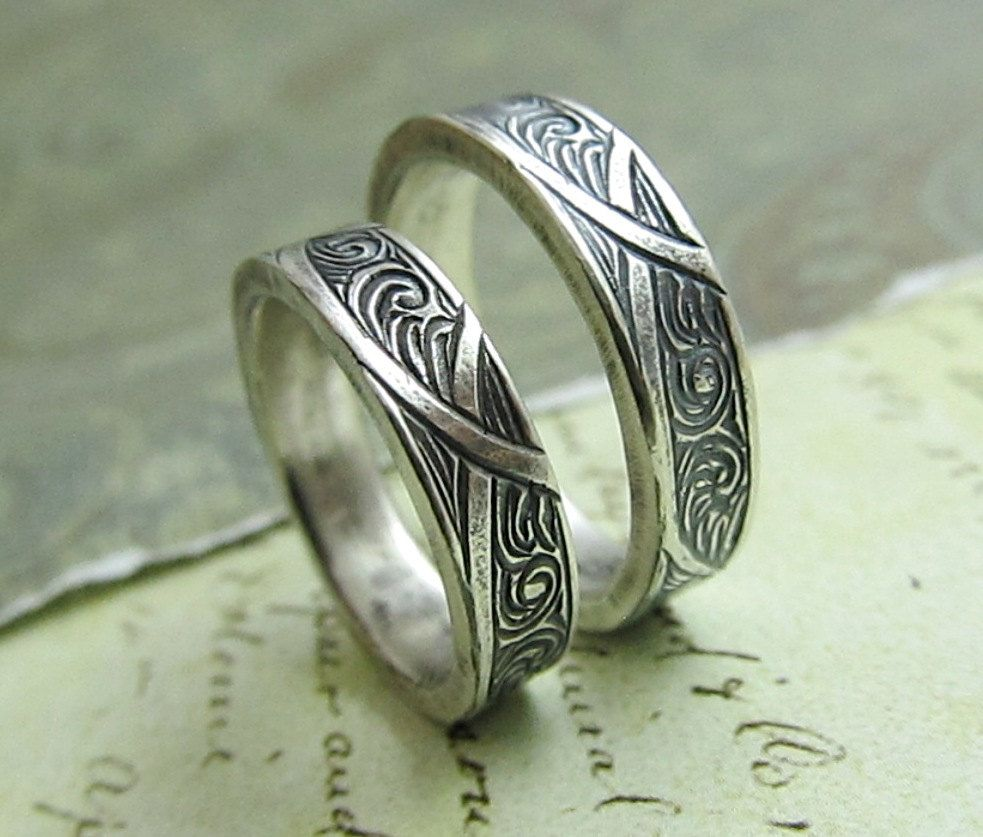 green mens wedding bands Waves and Arches Wedding Band Set Engraved 14k White Gold Rings His and Hers Celtic Scroll Ring by JC Metalsmith