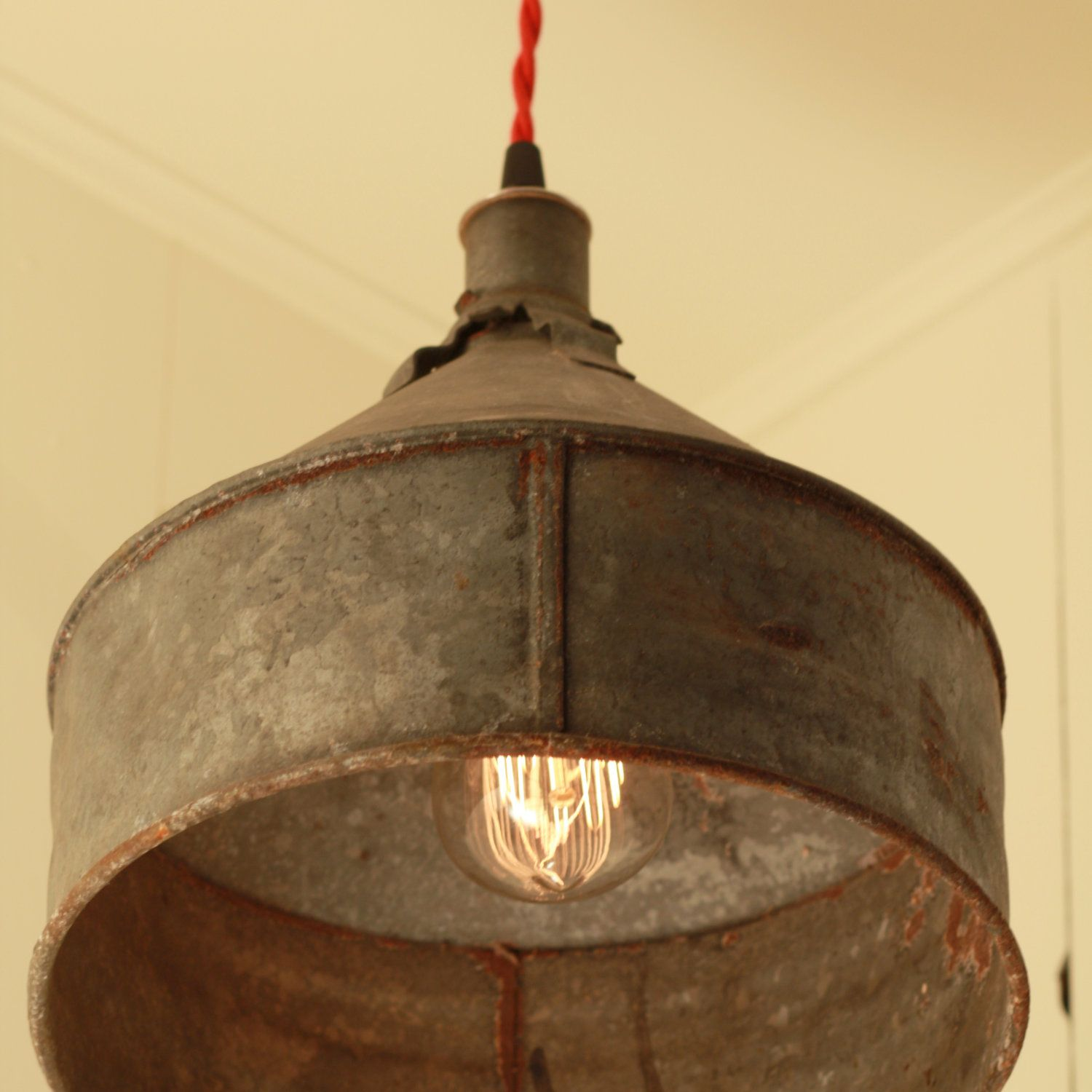 rustic pendant lighting kitchen RESERVED for Jacquidowd Rustic Lighting with Vintage Rustic Funnel Shade Pendant