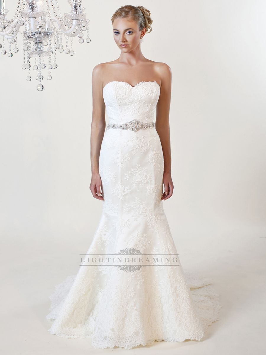 wedding belts for dresses Strapless Mermaid Sweetheart Lace Wedding Dress with Beaded Belt