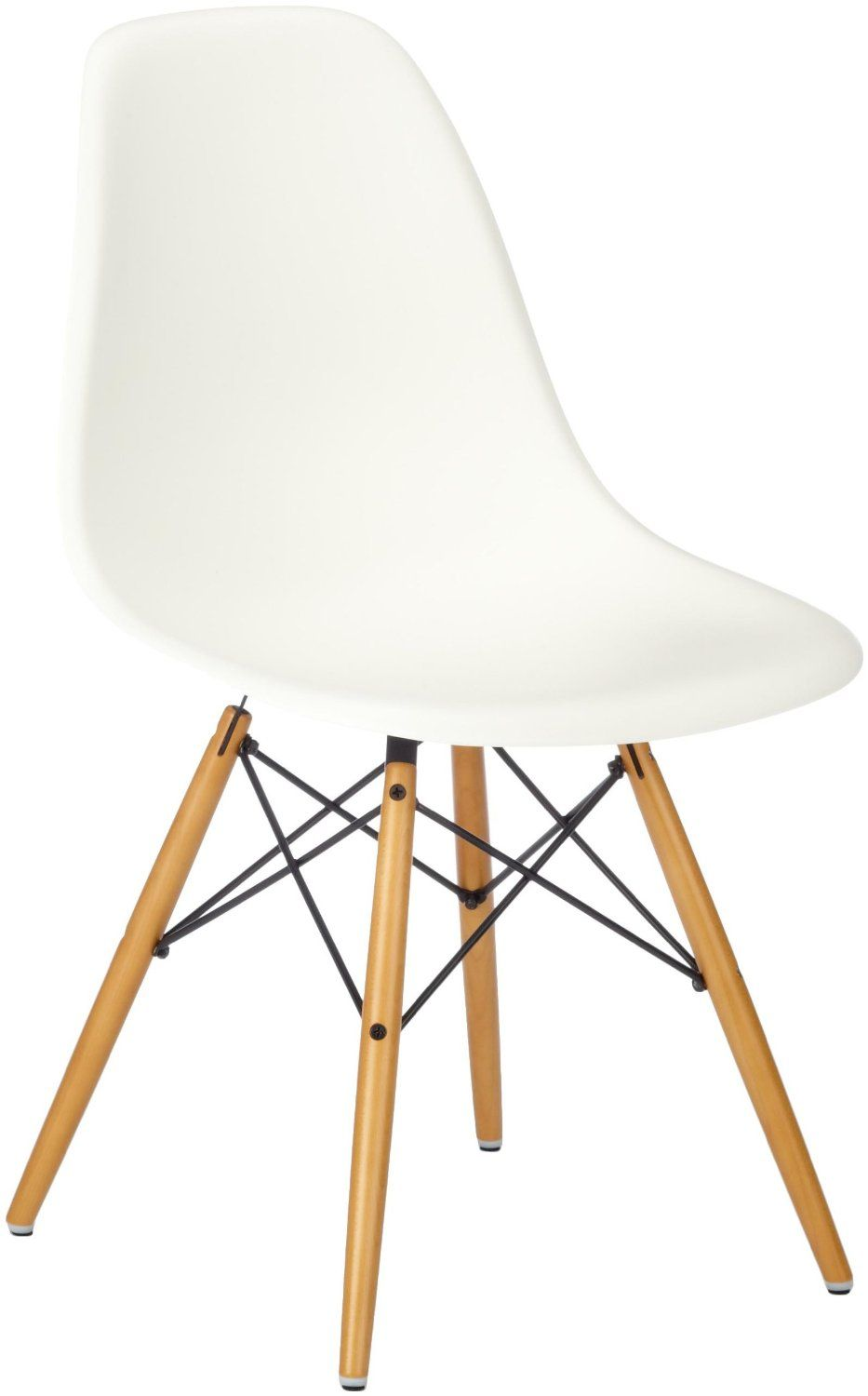 amazon kitchen chairs Vitra Eames Plastic Side Chair DSW base maple yellowish white seat Amazon