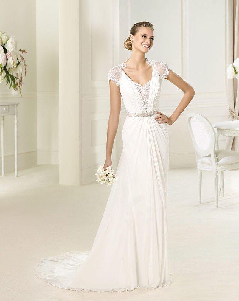 grecian wedding dress Grecian Style Chiffon Wedding Dress Lace Cap Sleeve Size6 8 10 12