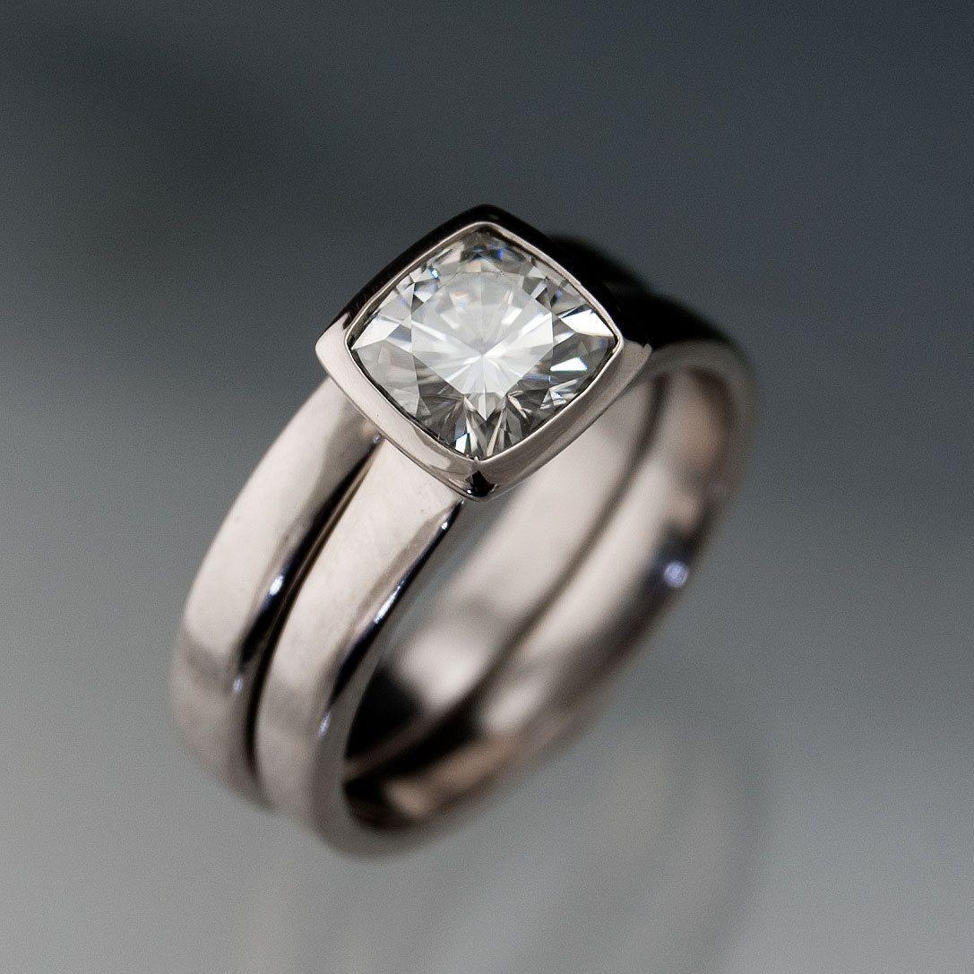 etsy wedding bands Moissanite Bezel Set Cushion Engagement Ring and Wedding Band Bridal Set in Silver Palladium