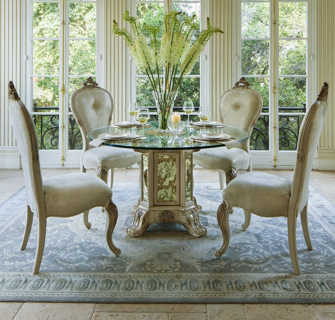 glass top kitchen table AICO Platine de Royale 54 Round Glass Top Dining Table in Champagne